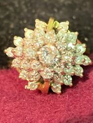 More Than 1 Ct 14k Fancy Gold Diamond Dinner Ring With 31 Diamonds