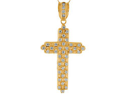 10k Or 14k Yellow Gold Baguette And Round Cz Studded Huge Latin Cross Pendant