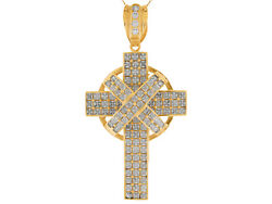 10k Or 14k Yellow Gold White Cz Accented Celtic Cross Huge Religious Pendant