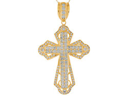 10k Or 14k Yellow Gold White Cz Accented Huge Double Latin Cross Pendant
