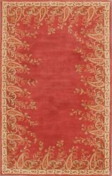 Pottery Barn Ajanta Borderd Oriental Handmade Wool Floral Area Rug 9and039 X 12and039