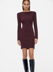 Zara Heavy Long Sleeved Burgundy Bodycon Knitted Shoulder Pads Dress New