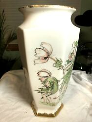 Rare Bernardaud And Co. Hand Decorated Limoges France Flower Fairies Large Vase