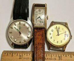 3 Lot Vintage Watches Repair Waltham Premier Gold Plate Timex Electronic More
