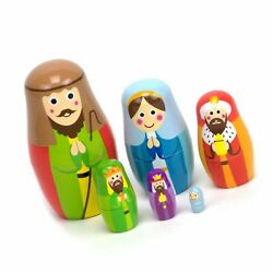 Nesting Nativity Scene - 6 Stackable Wooden Christmas Holiday Dolls - Small, ...