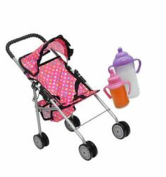 Exquisite Buggy My First Doll Stroller Pink And Off-white With Basket In The B...