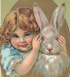 Cute Young Girl Covering Rabbits Eyes Easter C1910 Vtg P154