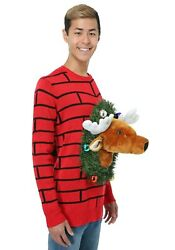 Adult Mounted Reindeer Head Ugly Christmas Sweater Size L 3x With Defect