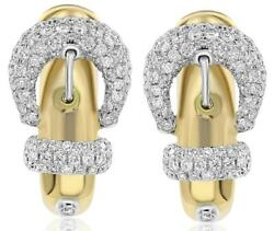 Large .84ct Diamond 18kt White And Yellow Gold Belt Fun Clip On Hanging Earrings