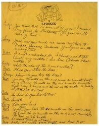 From Moe Howard Of The Three Stooges Estate His 10 Pp Handwritten Comedy Sketch