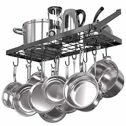 Square Grid Wall Mount Pot Rack Kitchen Cookware Hanging Organizer With 15 Hooks