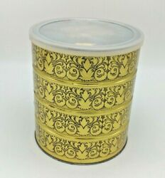 Vintage Folgers Coffee Tin Can With Lid 7'' Retro Gold And Black Holiday Design
