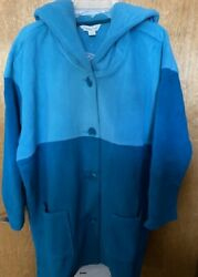 Coldwater Creek Two Tone Embroidered Fleece Coat Size 1x-2x