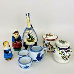 Lot 6pcs Vintage Quimper French Country Faience Pottery Dish Pitcher Millie Mali