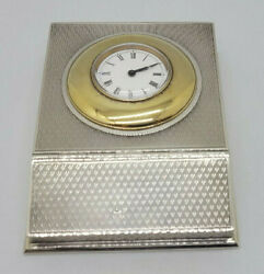 Rare Beautiful Antique Solid Silver Stamp Holder With Clock