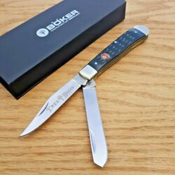 Boker Trapper Pocket Knife Stainless Steel Blades Jigged Bone Handle 110740