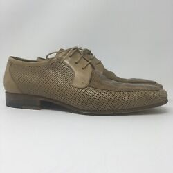 Stemar Ponza Mens Perforated Snakeskin Dress Shoes Leather Wood 222001 Us Size 8