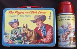 Vintage Roy Rogers On The Rail Lunchbox And Thermos - Tv Western 1957 C-8+ Nice