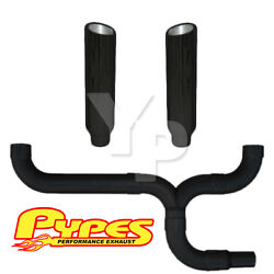 8 Slant Black Double Stack Stainless Pypes Exhaust Kit Chevy 2500 3500 Diesel