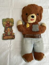 Vintage Smokey Ranger | Stuffed Plush The Bear 1960's | With Badge And Pin/button