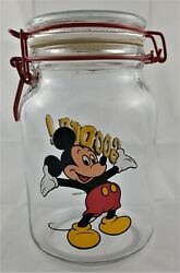 Disney Mickey Mouse Anchor Hocking Goodies Glass Cookie Candy Jar