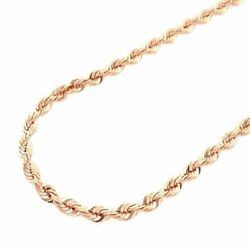 Solid 14k Rose Gold Diamond Cut Rope Chain Necklace 2mm-7mm 20-30
