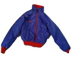 Columbia Mens Windbreaker Jacket Blue Red Insulated Thinsulate High Collar 8