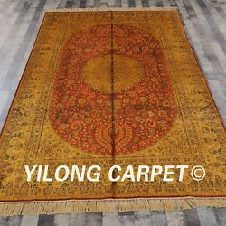 Yilong 6and039x9and039 Handknotted Silk Carpet Gold Washed Antique Mansion Rug G43c