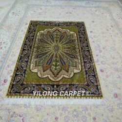 Yilong 4'x6' Handknotted Silk Carpet Classic Home Interior Green Rug Ywx112a