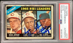 Willie Mays Signed 1966 Topps 219 Card Frank Robinson Hof +1 Autograph Psa/dna