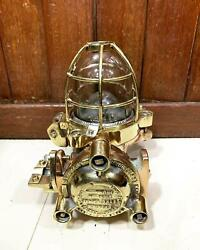 Industrial Old Antique Marine Bronze Flame Proof Ceiling Light With Brass Cage