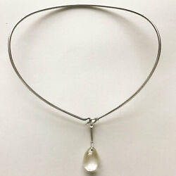 Georg Jensen Sterling Silver Neckring No. 174 And Dewdrop Pendant With Rutilat