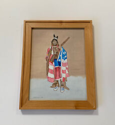 Painting Native American Indian Portrait Chief American Flag Freedom J. Huffman