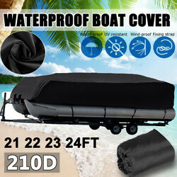 21-24ft 210d Oxford Boat Cover Heavy Duty Fish Pontoon Adjustable Trailerable Us