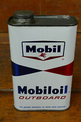 Vintage Original Mobil Bowtie Outboard Marine Boat Motor Oil One Quart Oil Can