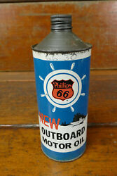 Vintage Phillips 66 Outboard Marine Boat Motor Oil Cone Top One Quart Oil Can
