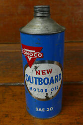 Vintage Conoco Outboard Marine Motor Oil Cone Top One Quart Oil Can Full Nos