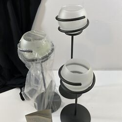 Candle Holder Wrought Iron Spiral Design Frosted Globe Mcm Partylite New Set 3