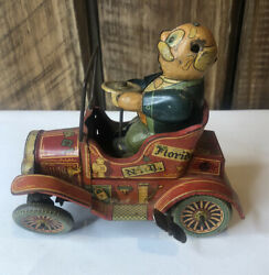 Grandpa's New Car Wind Up Tin Litho - Japan - For Parts Or Repair