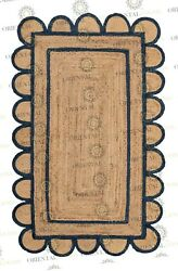Scallop Jute Navy Hand Made Rugbohemian Decor Inspire Customize In Any Size
