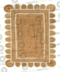 Scallop Jute Rug White Trim Boho Jute Rug..customize In Any Shape And Size...ys