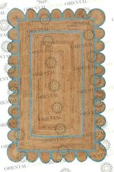 Scallop Jute Blue Hand Made Rugbohemian Decor Inspire Customize In Any Size