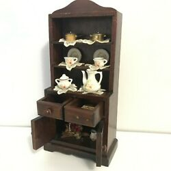 Dollhouse Miniature Wooden China Cabinet Dining Kitchen Hutch 11 Vintage Toys