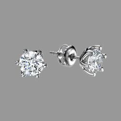 1 Ct H/si2 Sparkling Diamond Stud Earrings Round Cut 14k White Gold