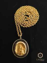 Set Necklace With Pendant Of Our Lady And The Child Jesus, Of Solid 18k Gold.