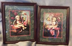 Home Interiors Cherub Pictures Signed D Giacomo 2 Piece Set 16x13in Rare Angel