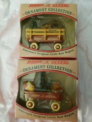 Radio Flyer Little Red Wagon Ornament Collection Lot Of 2 Christmas Ornaments