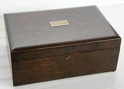 Antique Cigar Humidor Box Wooden Milk Glass-lined Heavy J.w. Selover Wow