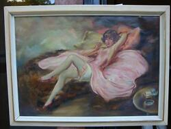 Rare Woman Painting After Icart A.f Steinke German 1930