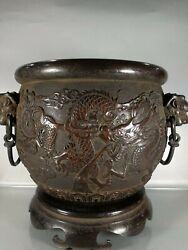 11'' Pure Bronze Red Copper Carved The Treasure Wealth Dragon Cup Jar Container